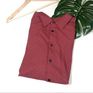 Toscano | Red Diamond Short Sleeve Button Down